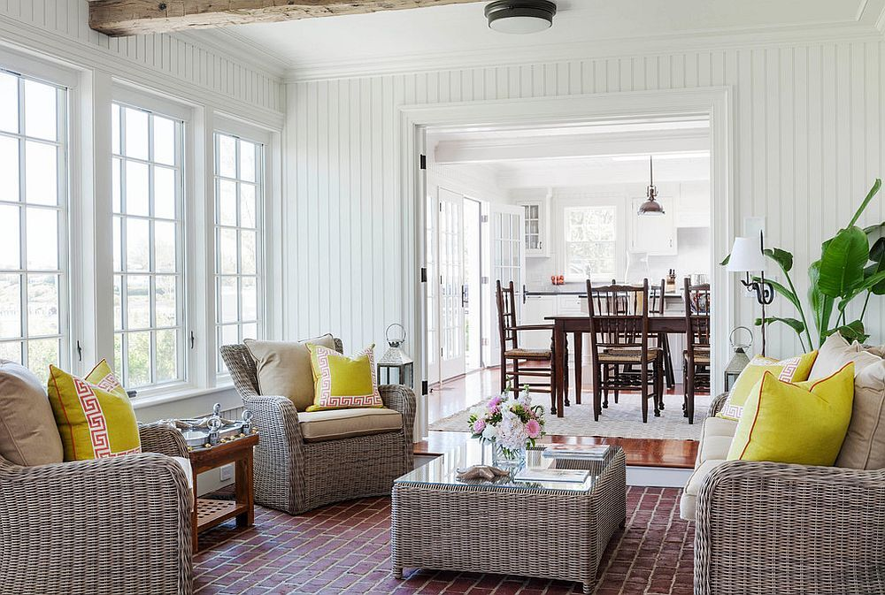 sunroom decor. Gorgeous White, Beach Style Sunroom With Simple Rattan Furniture [Design: Colonial Reproductions] Decor