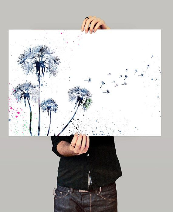 Dandelion Watercolor Print, Flower Painting poster, Nature Art Print, Watercolor Art Giclee Art Print (51) #watercolorart