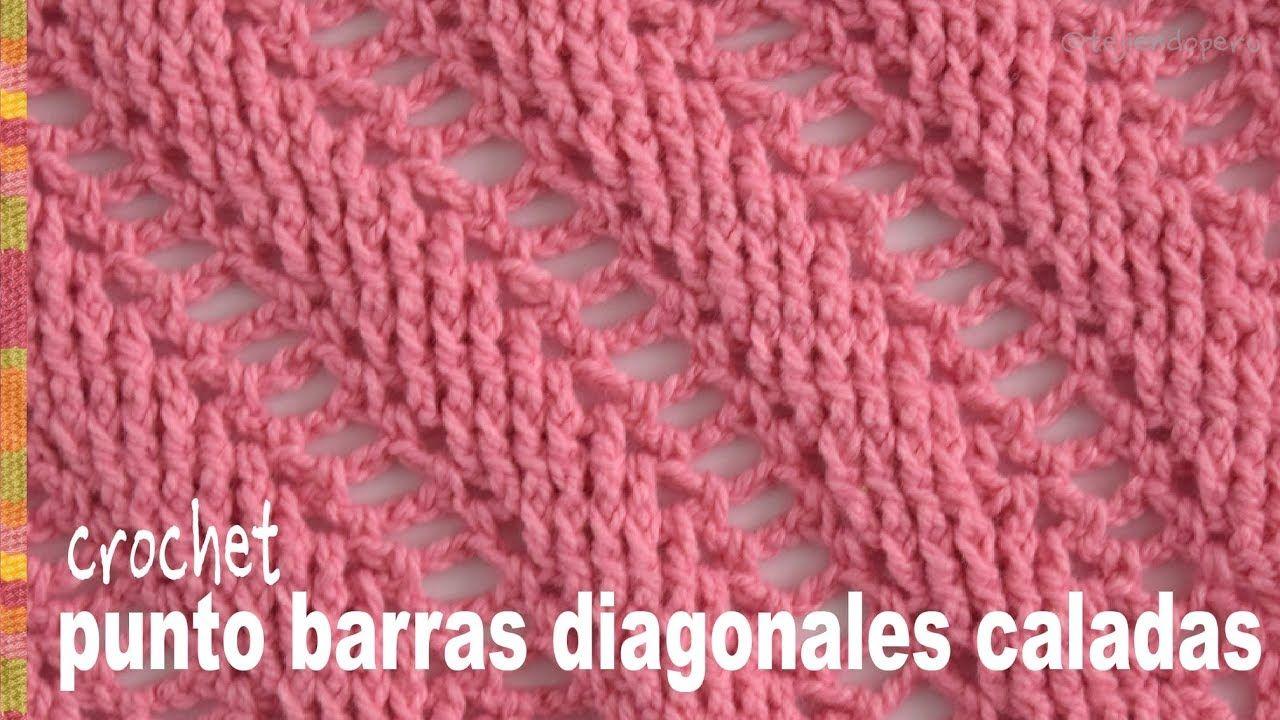 Punto barras caladas diagonales tejido a crochet (imitación 2 agujas ...
