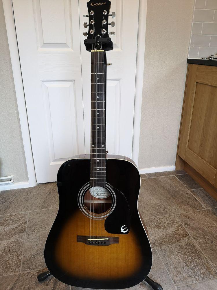 Epiphone Dr 100 Dreadnought Acoustic Guitar Vintage Sunburst Guitar Epiphone Acoustic Guitar