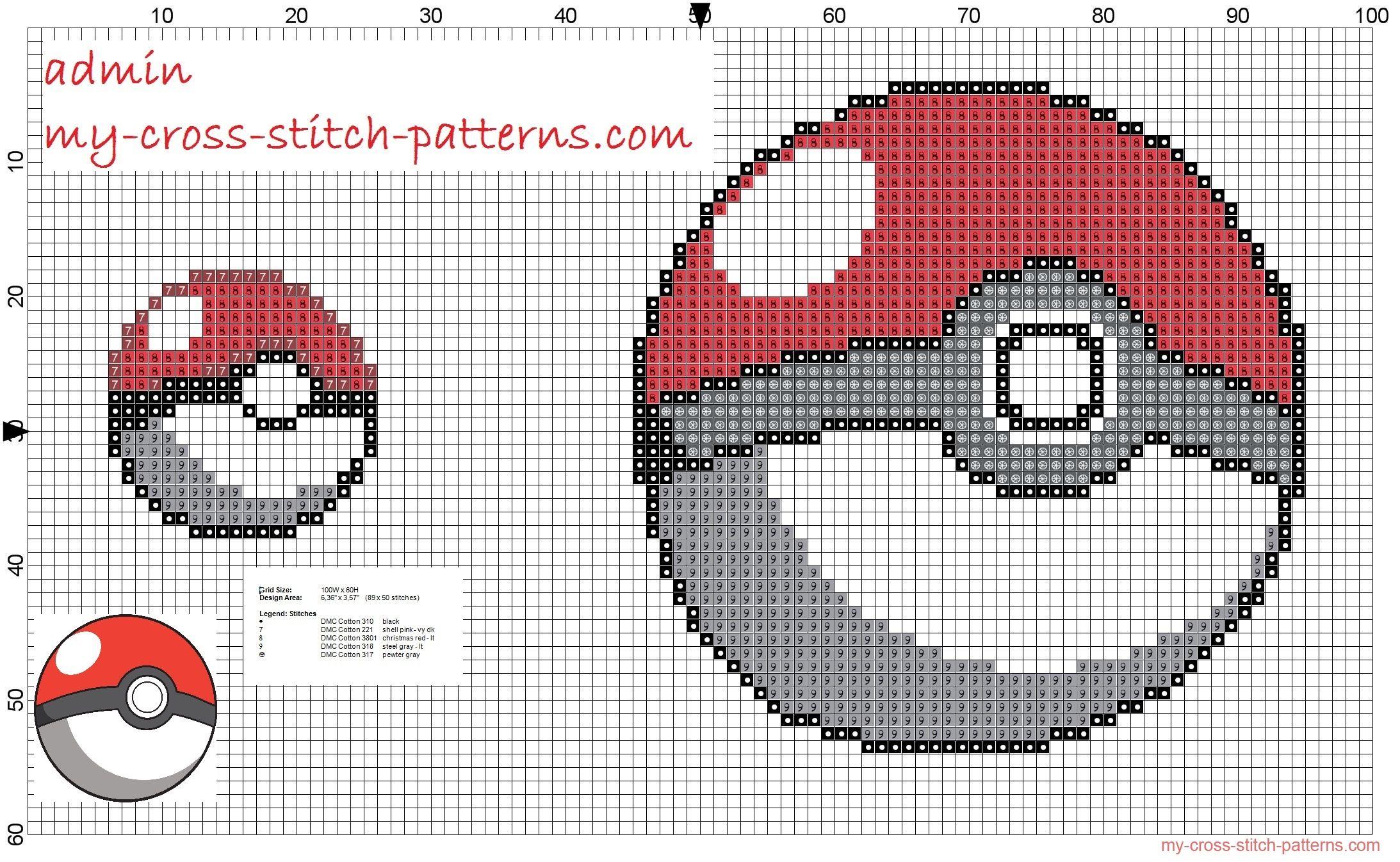 Pokéball 20x20 and 50x50 free cross stitch pattern - 2186x1346 ...