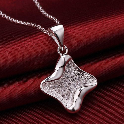 Silver Plated Chain Necklace Full Drill Pendant Noble Neck Chain Women Lady Fashion Jewelry