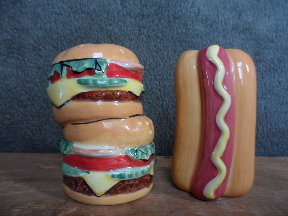 Hamburger Amp Hot Dog Salt Amp Pepper Shaker Set Bbq Picnic
