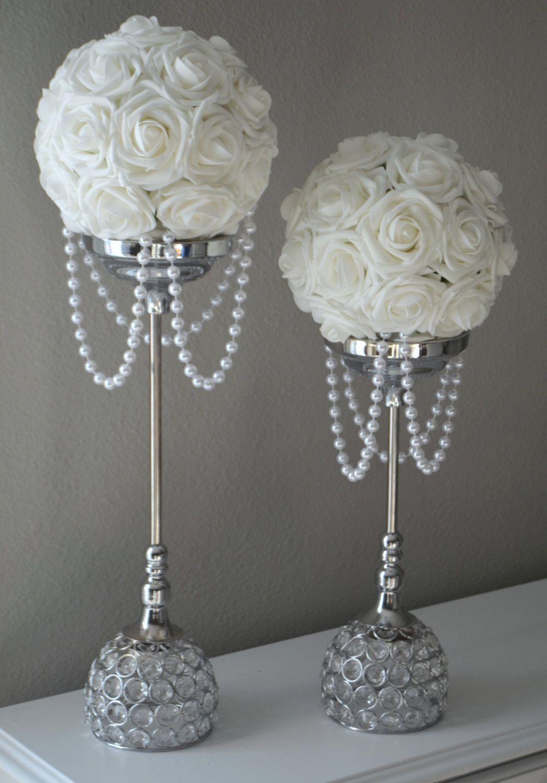 Wedding decorations white november 2018 WHITE Flower Ball With DRAPING PEARLS Wedding Decor Bridal Shower