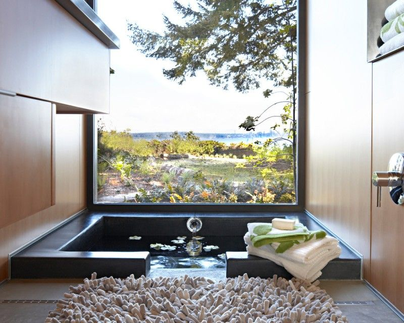 Contemporary Step Down Bathroom In Japanese Style Of Japanese