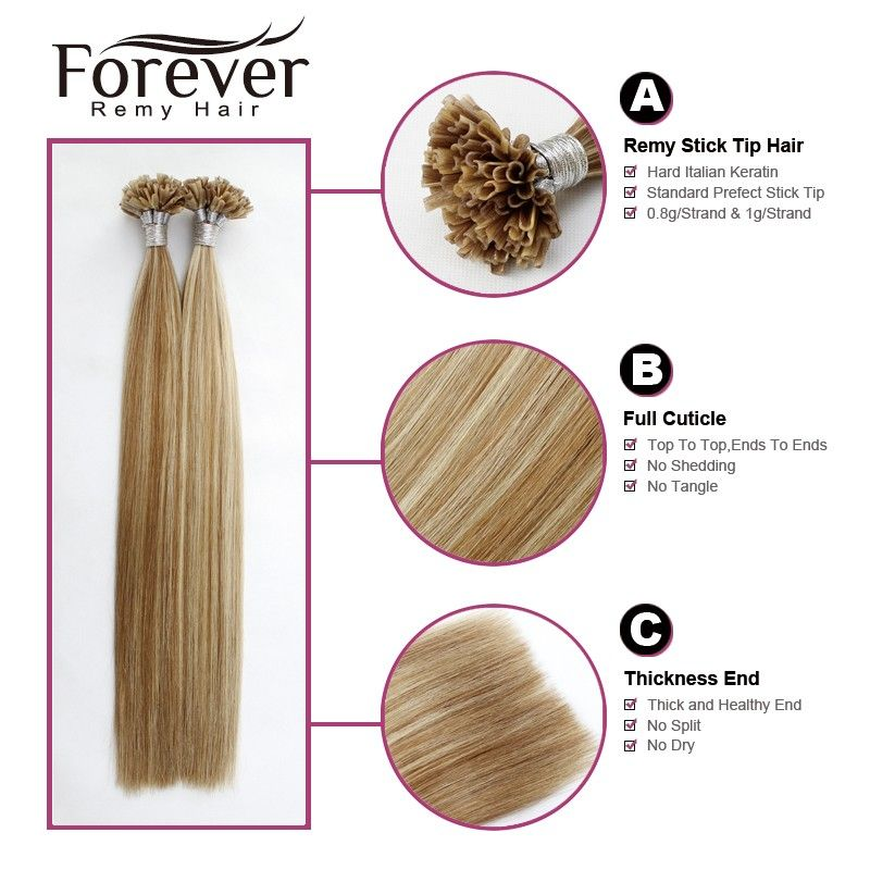 Forever Keratin 100 Cheap Straight Remy Human Mixed Color Utip Hair