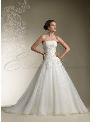 Tulle Strapless Intricately Hand-Beaded Bodice Ball Gown Wedding Dress