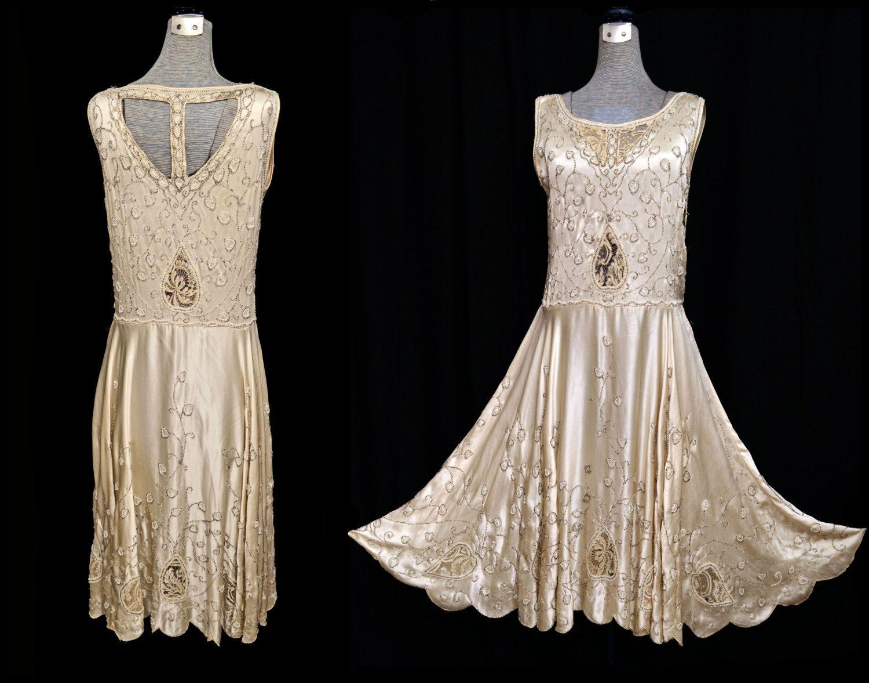 Heavily Beaded Wedding Dresses Flapper Dress