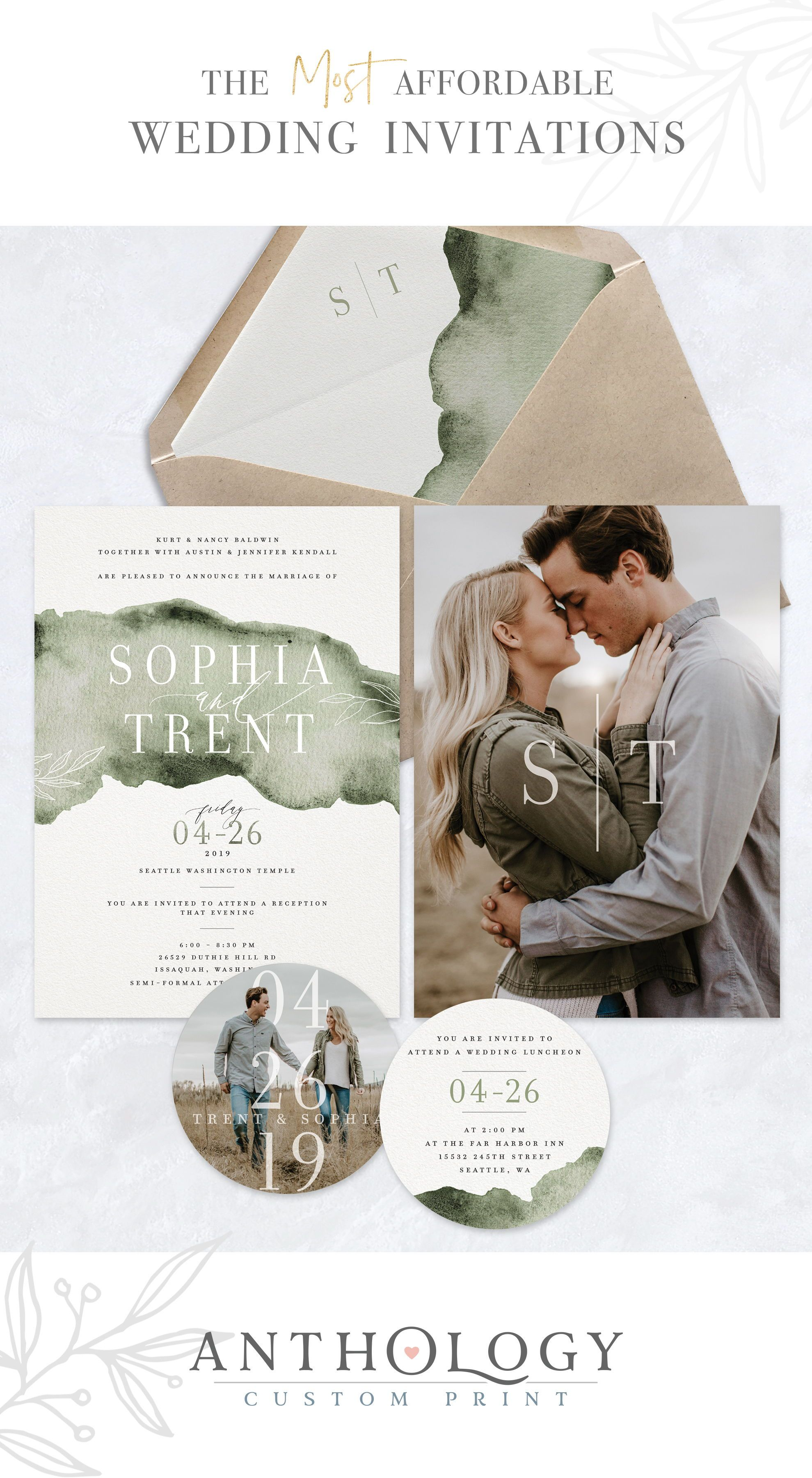 Watercolor Modern Wedding Invites