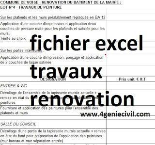Exemple de devis quantitatif de travaux de rénovation en excel. ici vous trouverez 2 fichiers ...