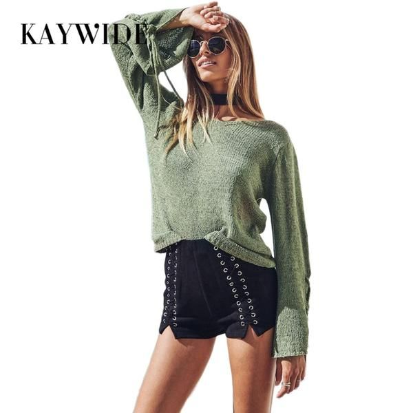#BestPrice #Fashion KAYWIDE 2017 Autumn New Women Tops Series Knitted Lace Up Flare Sleeve High Street T-Shirt Ladies Basic Harajuku Casual…
