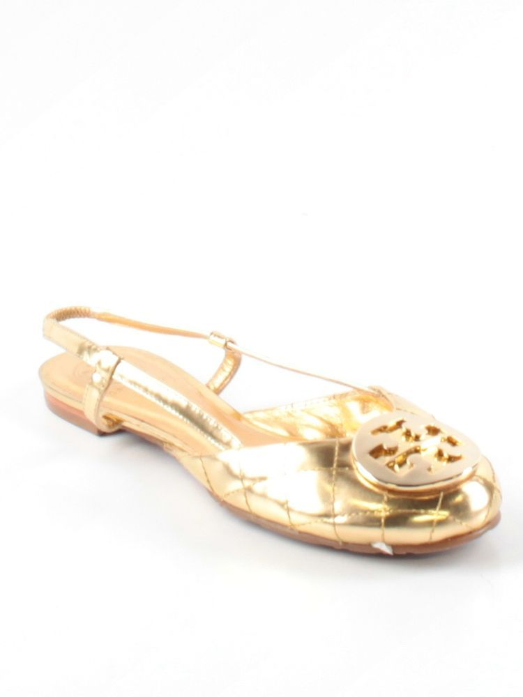 Women Tory Burch Reva Gold Quilted Sharon Logo Slingback Flats Shoe Size 7  M #ToryBurch