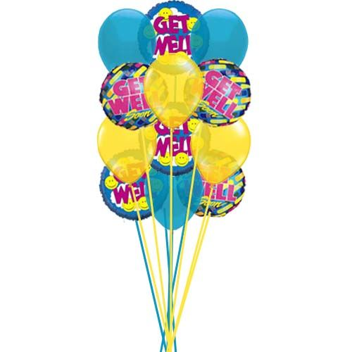 Bunch Of Get Well Soon Balloons Price Us 39 99 Send Get Well Soon Balloons With Smiley Face For Get We Balloon Prices Balloons Balloon Bouquet Delivery
