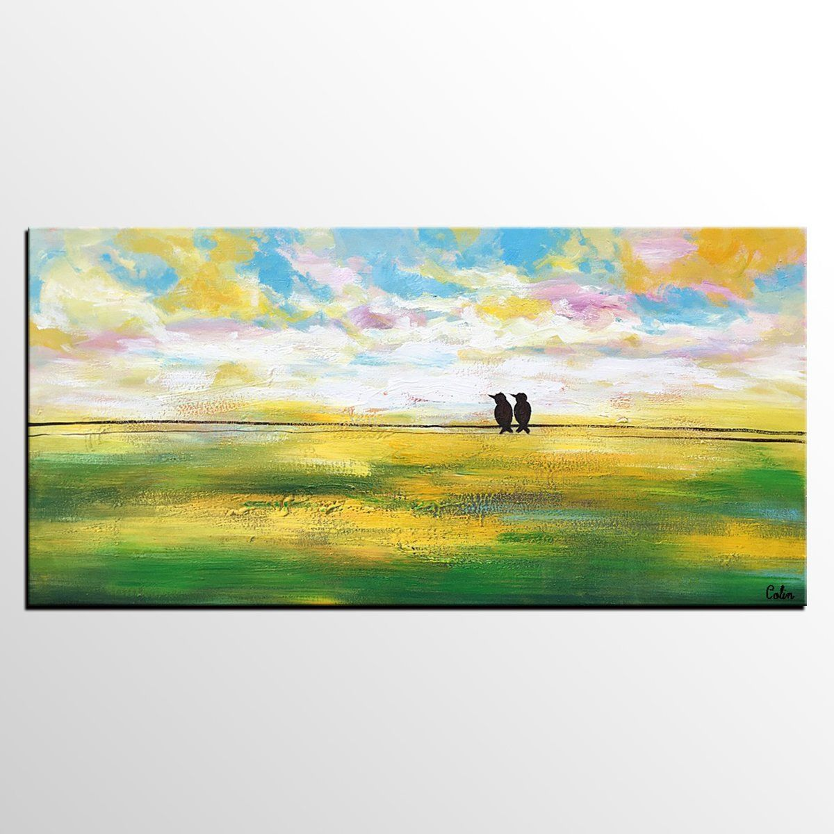 Abstract Landscape Painting, Wedding Gift, Abstract Art, Love Birds ...