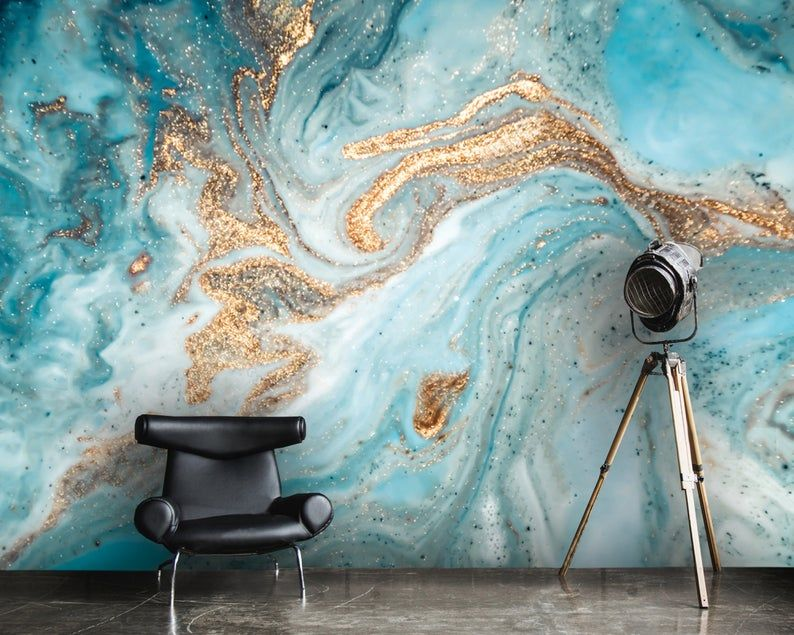 Wallpaper Abstract Ink Gold With Blue Design Art Vinyl Or Self Adhesive Blue And Gold Wallpaper Mural Gold Interior Design