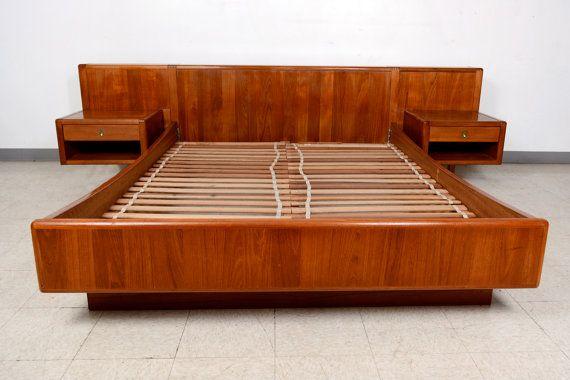Danish Modern Queen Platform Teak Wood Bed W Floating By Midcmad 1650 00