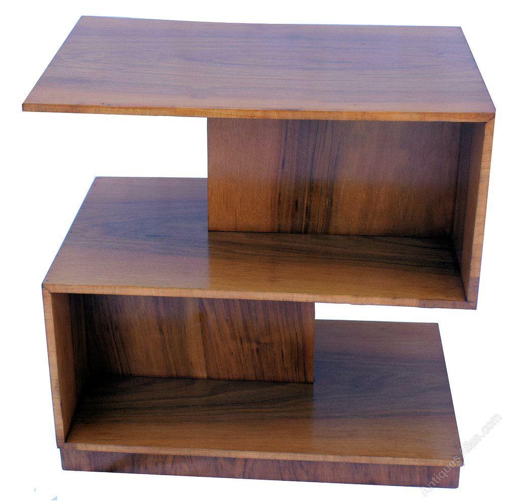 Art deco geometric modernist walnut twotier table
