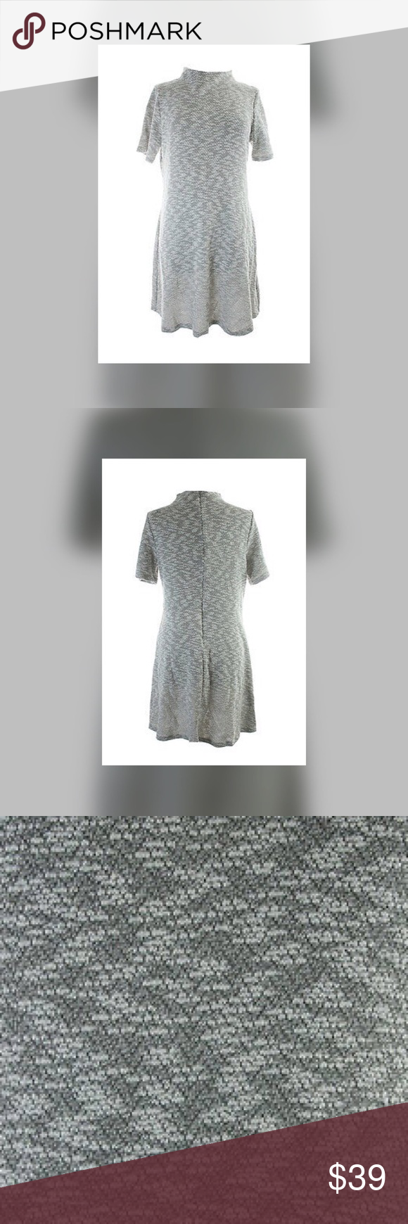 Bar Iii New Grey Marled Mock Turtleneck Dress B42 Short Sleeve A Line Form Please See Size Chart For Sizing