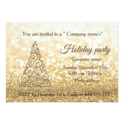 Gold glittery Christmas tree company holiday party Card - christmas
