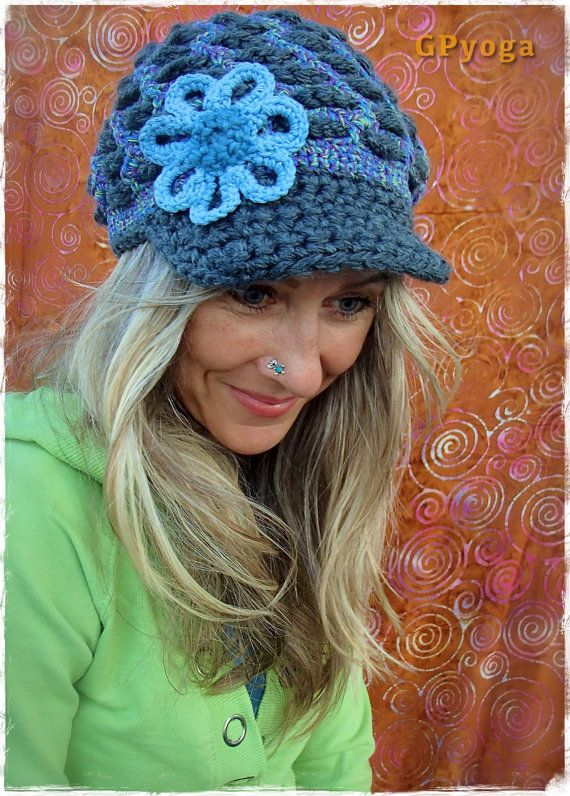 ce807296183 GREY Purple and BLUE Visor Beanie Crochet hat Sky Blue by GPyoga ...