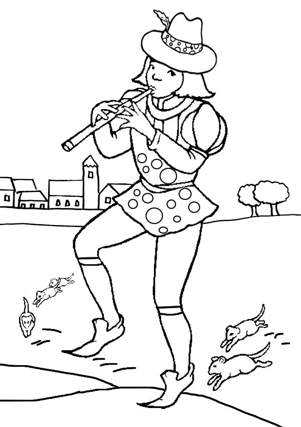 Free Online Printable Kids Colouring Pages The Pied Piper