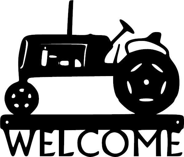 Welcome Tractor Vinyl Decal Metal Tree Wall Art Metal