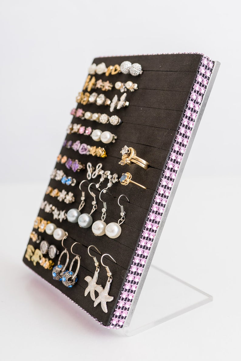 Stud Earring Holder Light Pink Jeweled Ribbon Stud Earring