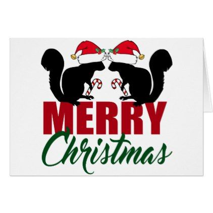 Cute Merry Christmas Squirrel Card | Merry xmas