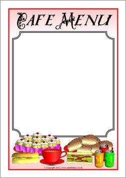 Cafe Menu Writing Frames Sb7830 Sparklebox Cafe Menu Play Menu Menu Printing