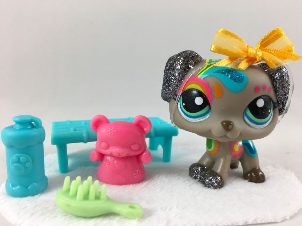 Littlest Pet Shop Rare Gray Rainbow Paisley Dalmatian  Waccessories Hasbro