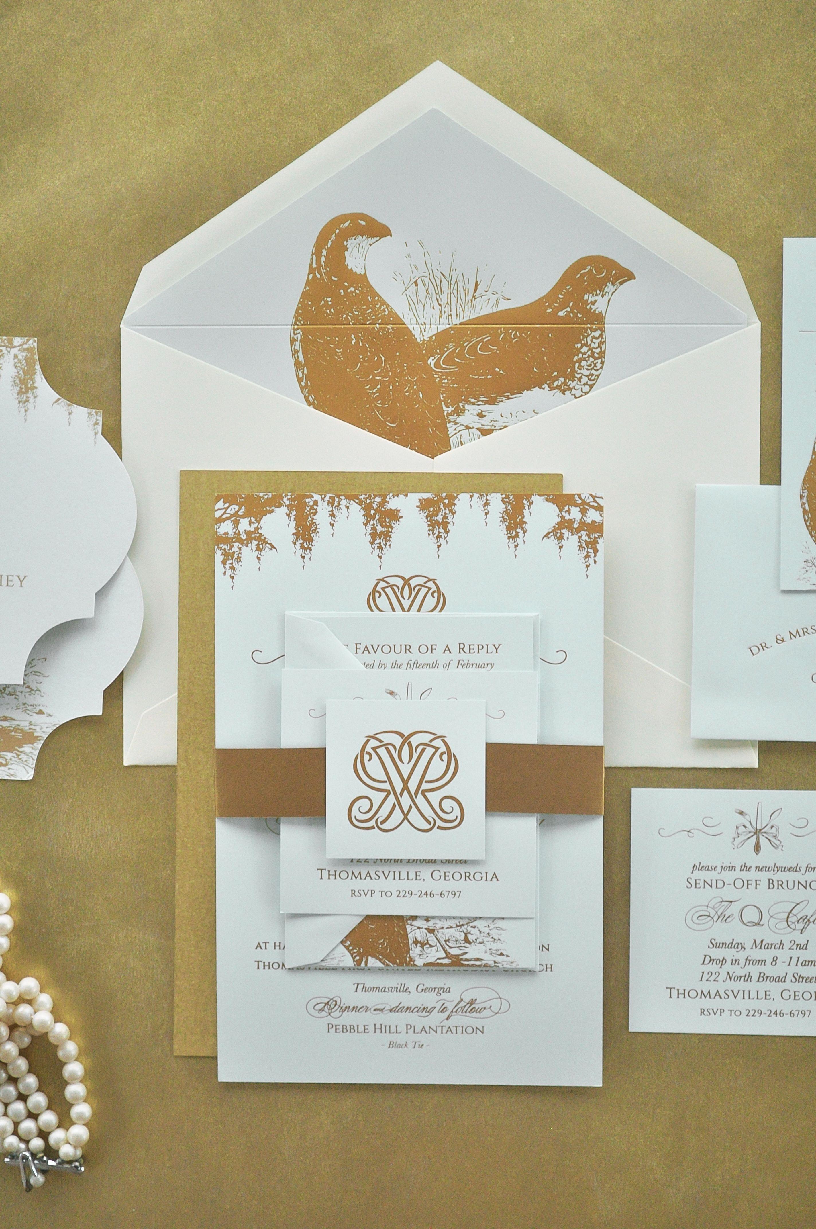 Garden and Gun Themed Wedding Invitations, Mint Paper, Gold Foil ...