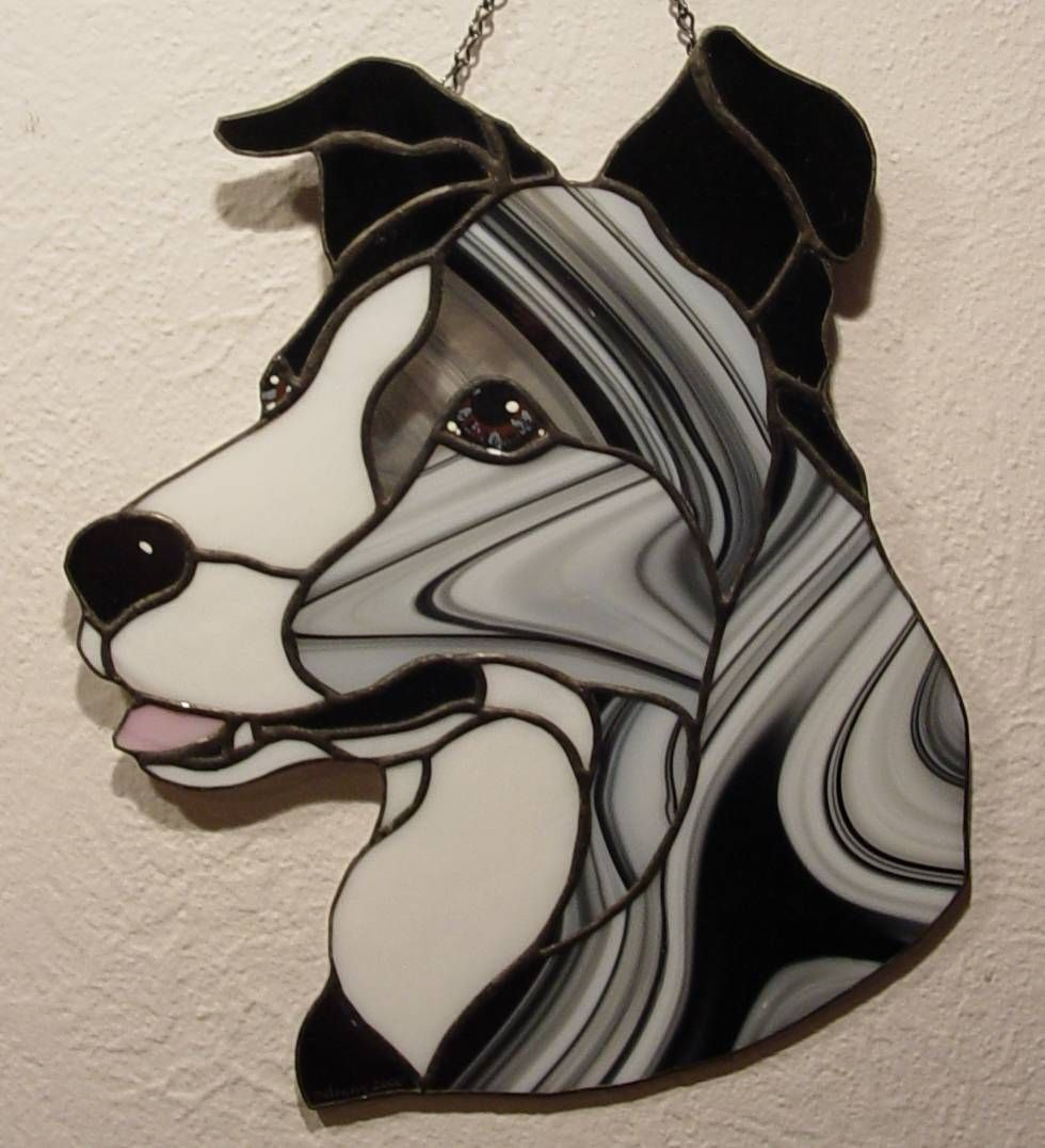 Border Collie stained glass - my design   My Stained Glass ...