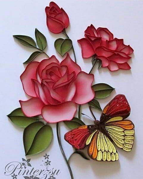 Днем, открытки с розами из бумаги