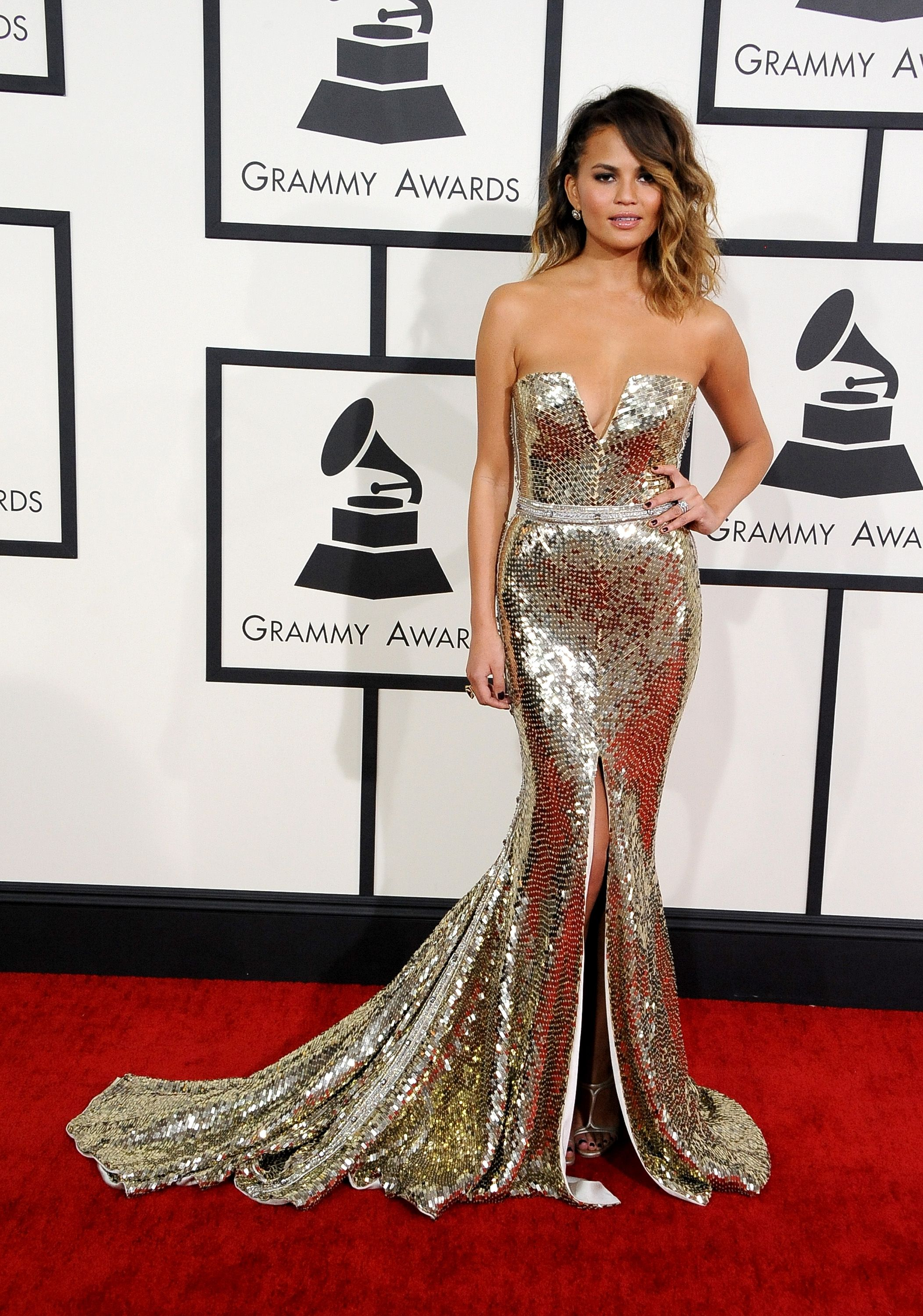 f231330d7f7841 Wearing a Johanna Johnson gown at the Grammy Awards. - ELLE.com