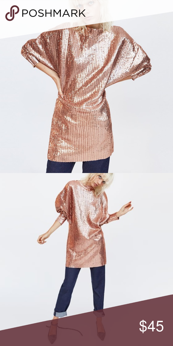 18845f7d Zara Light Pink Sequin Dress Zara Voluminous dress with boatneck and long  sleeves. Material has a lot of stretch. 100% polyester. Small measures  about 33