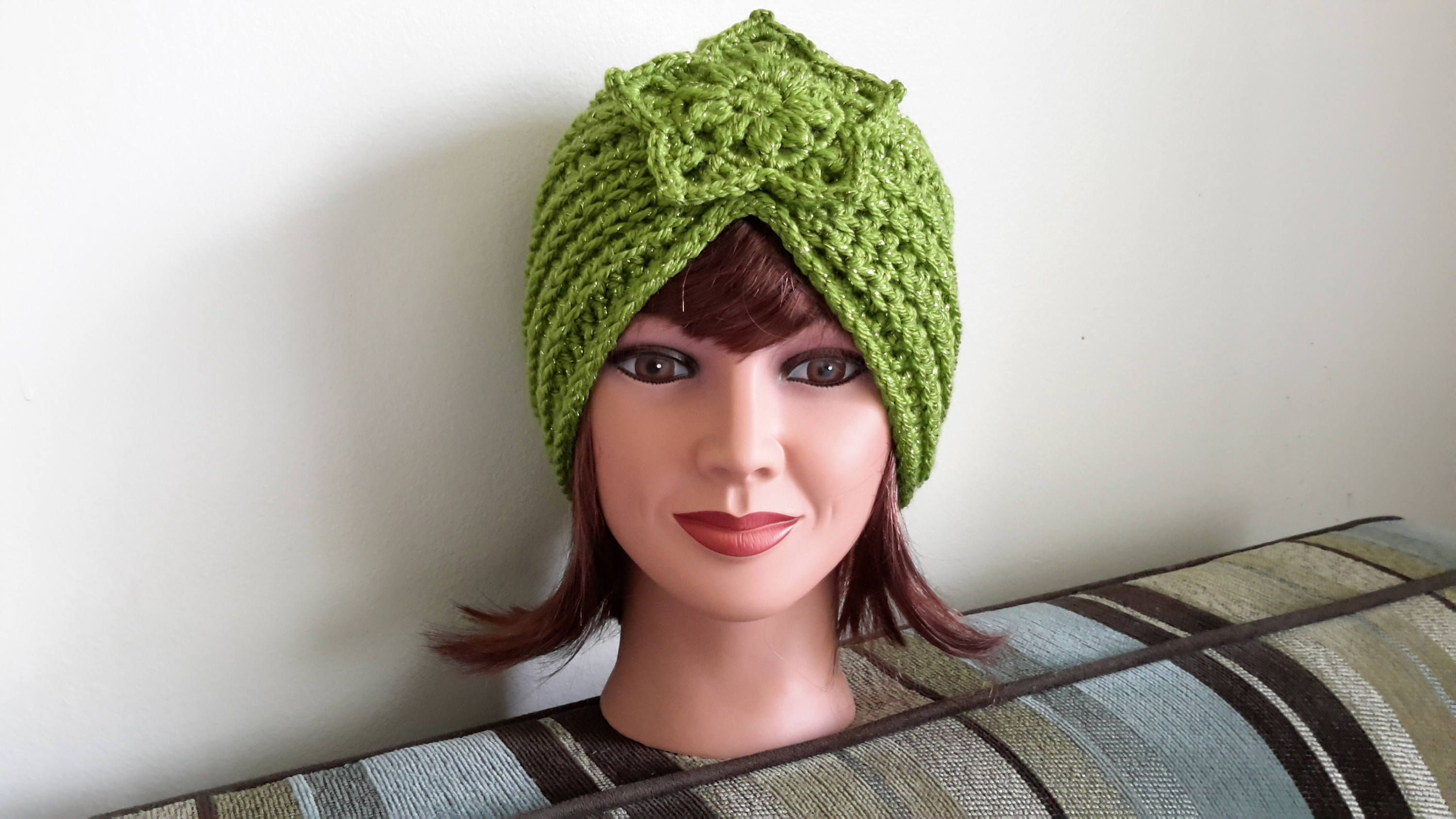 Classy , Stylish, cozy, elegant turban with sparkle! Adorned with a star! Warm and comfortable, lightweight Retro hand crocheted turban hat - Womens winter head wrap  Color name: Spring Sparkle One size - fits an average adult women and teen heads approximately 20-22 inches circumference.  You may order it in any color, just send me a message request. Care: Hand wash in cool water. Lay flat to dry. Gently reshape if needed.  I try my very best to photograph my items as accurately as…