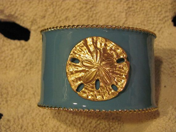 Cuff Bracelet Turquoise with Sand Dollar  Pop of color by savannahjacks, $40.00 aqua blue shell beach nautical jewelry preppy