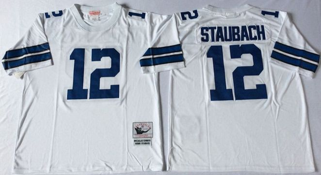 f22bf4644 dallas cowboys 12 roger staubach white throwback jersey