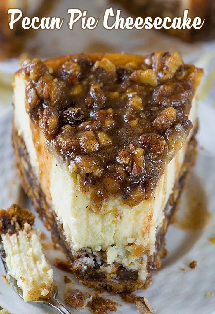 Pecan Pie Cheesecake #pecanpie
