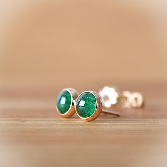 ee09f6fc8 Green Aventurine Stud earrings, Natural Emerald Green Gemstone Earrings,  Bezel Set 6mm or 8mm