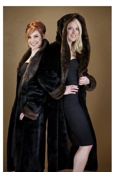 """BEAVER with MINK - 49"""" Hooded Faux Fur Coat  Luxury on a budget...mmmm"""
