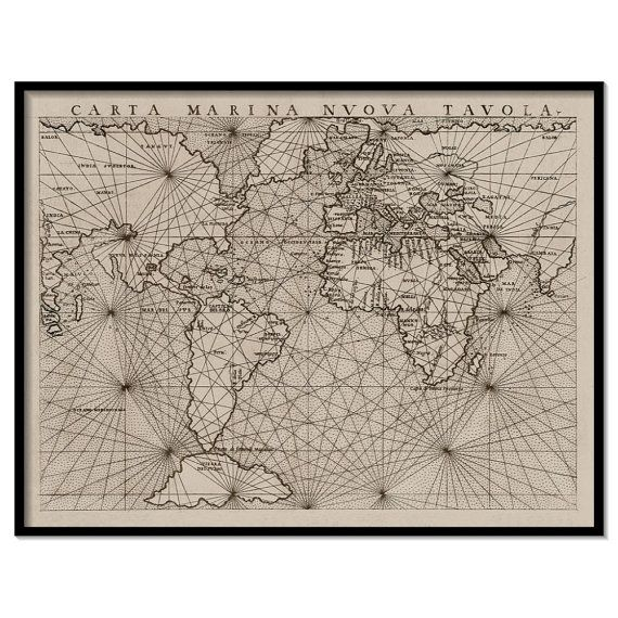 Ancient Nautical Map Nautical Map Art Nautical World Wall Map