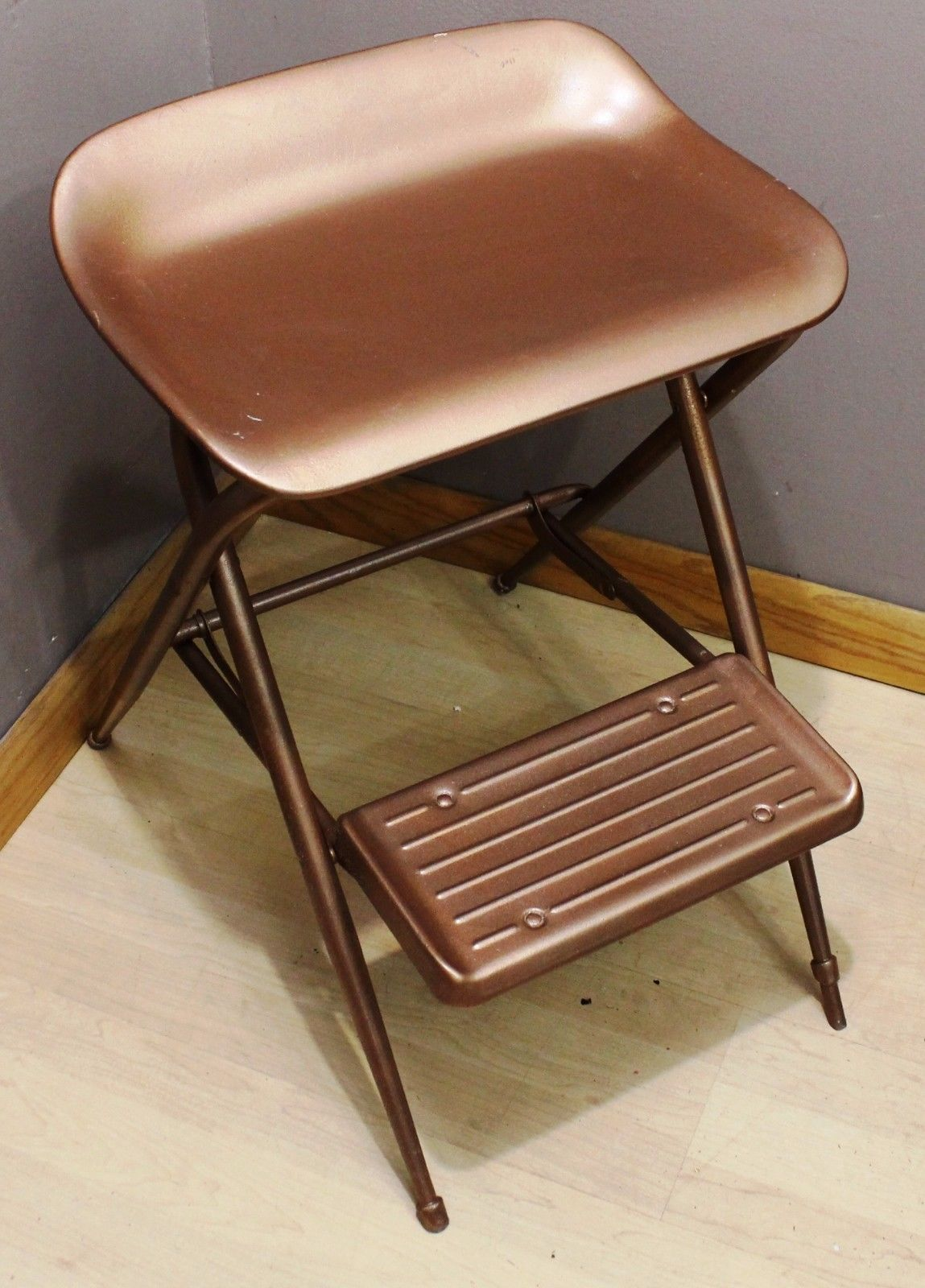 vintage samsonite folding step stool all metal kitchen shop chair