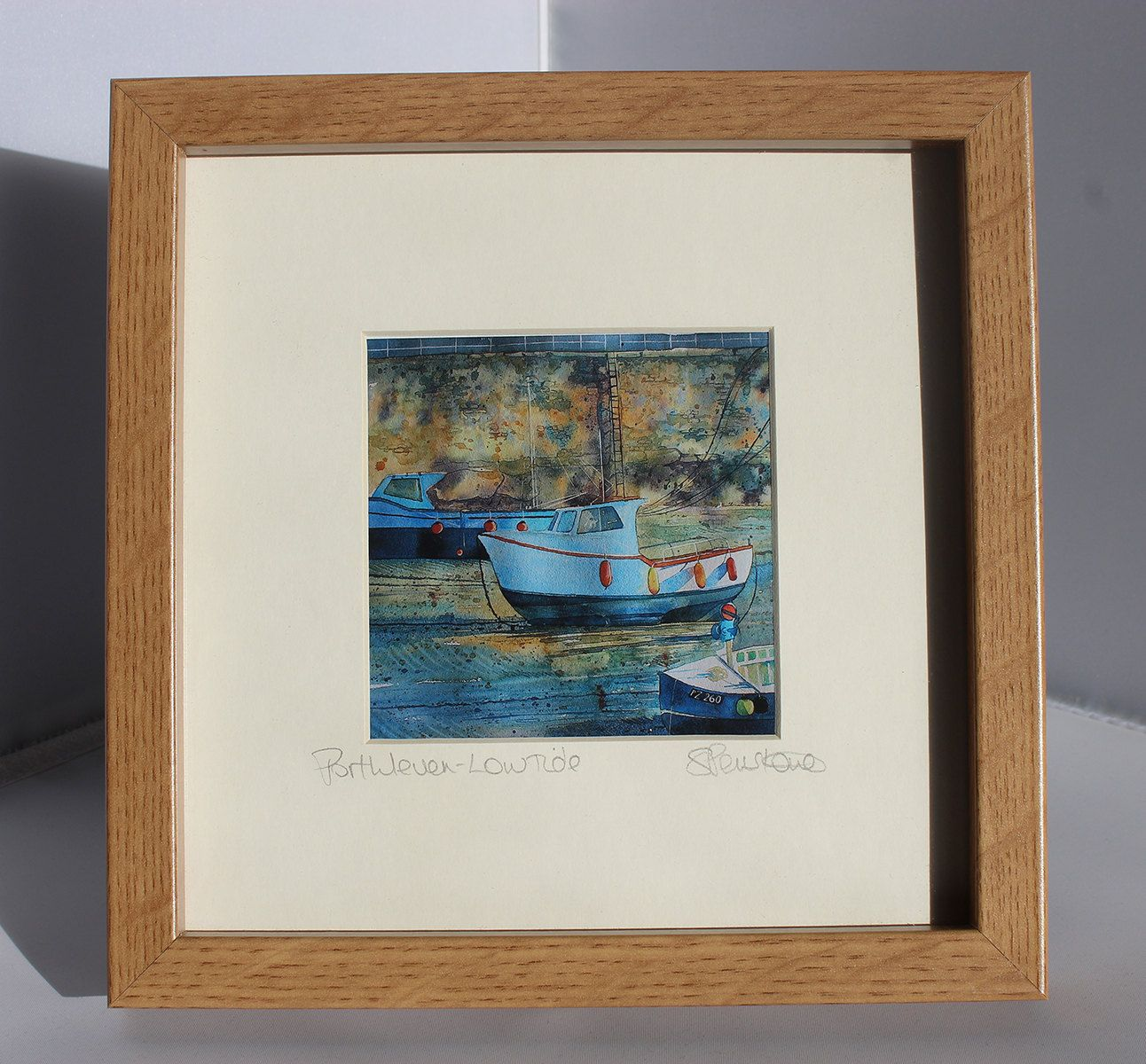 Framed print of Porthleven boats, Cornwall, from an original watercolour painting, low tide, harbour painting by PenstoneArt on Etsy