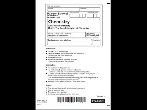 Edexcel AS Chemistry Unit 1 Question Paper May 2015
