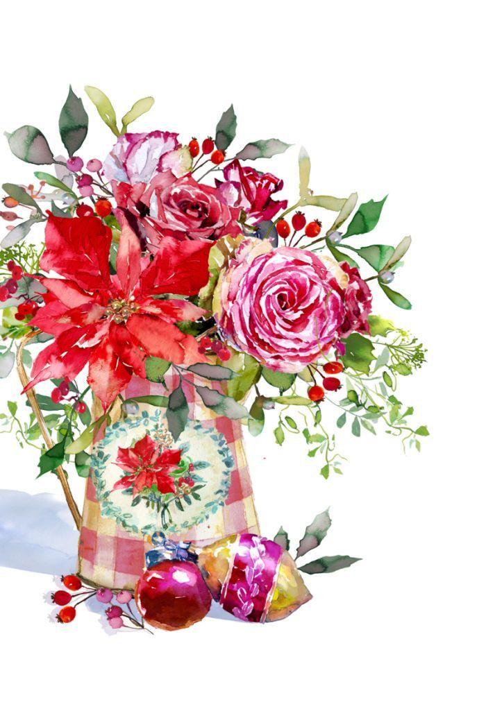 Poinsettia Christmas Flowers Bouquet clip art big 700x1022