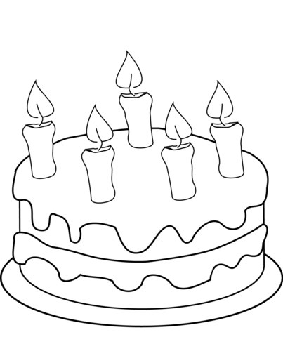 Birthday Cake With Five Candles Coloring Page Birthday Coloring Pages Happy Birthday Coloring Pages Coloring Pages