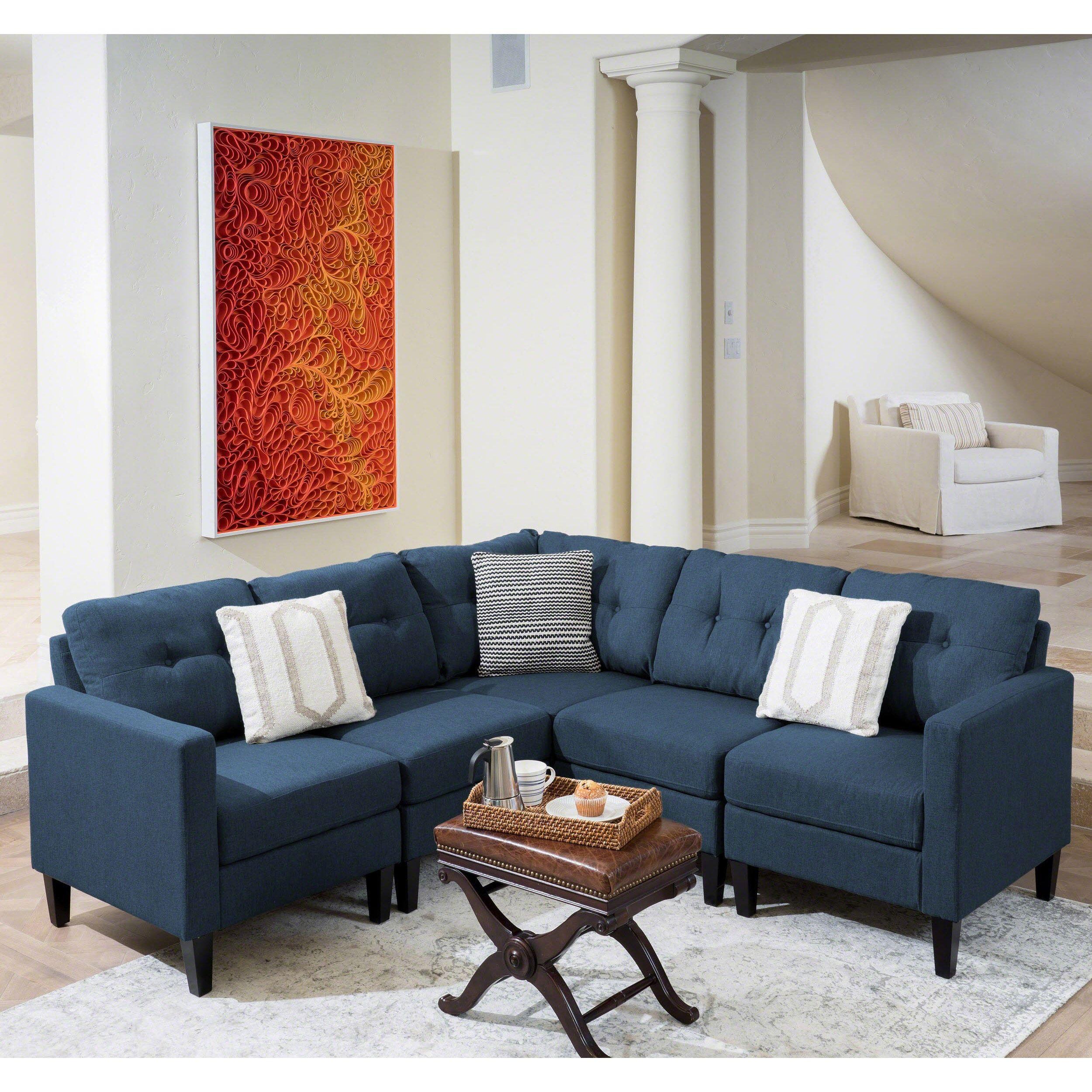 Brilliant Emmie Mid Century Modern 5 Piece Sectional Sofa Set By Unemploymentrelief Wooden Chair Designs For Living Room Unemploymentrelieforg