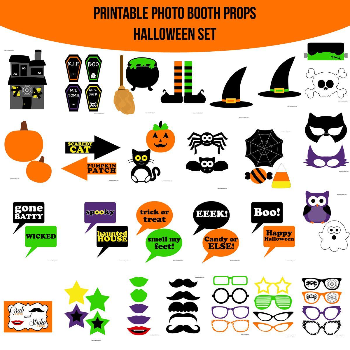 Instant Download Halloween Printable Photo Booth Prop Set