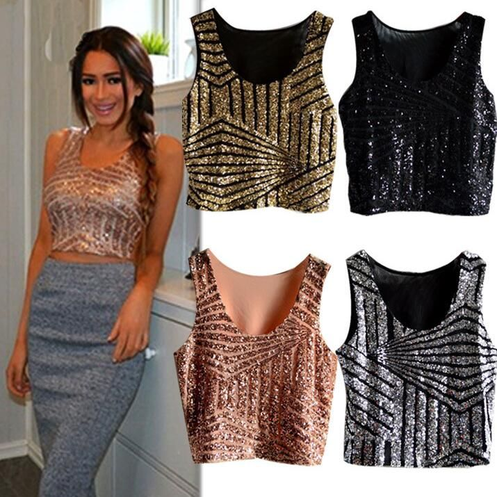 be907fbed5b Click to Buy    Women Girls Sexy Lace Hip Hop Dance Crop Top Shirt Clothing  Black Gold Silver Sequin Ballroom Belly Jazz Dance Top Costume  Affiliate